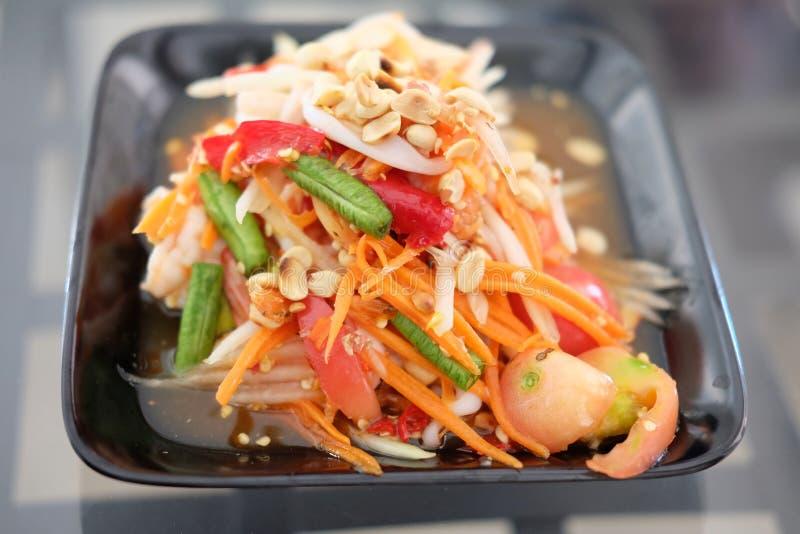 Receta verde tailandesa de la ensalada de la papaya imagenes de archivo