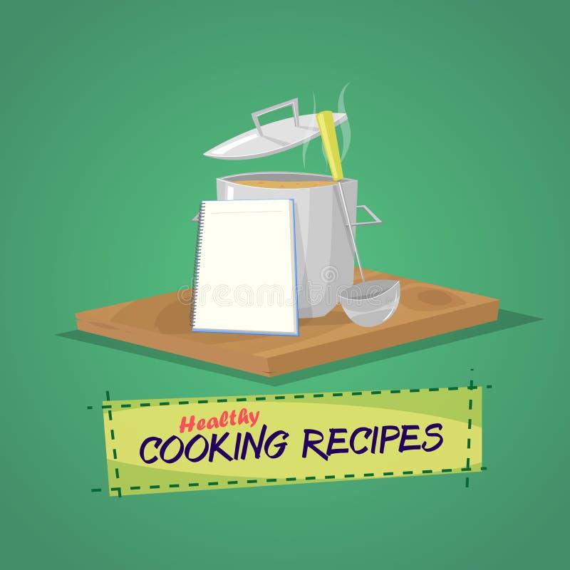 Recetas de cocinar sanas stock de ilustración