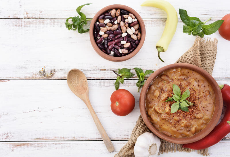 Recette cuite au four de haricots photo stock