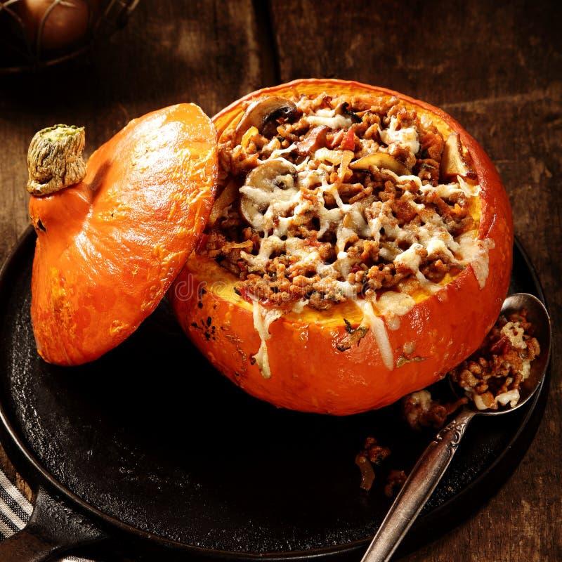 Recette délicieuse d'automne pour le potiron bourré image libre de droits