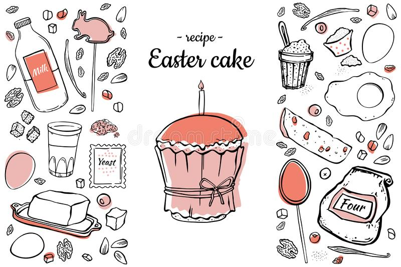 Recette de gâteau de Pâques de couleur deux illustration de vecteur