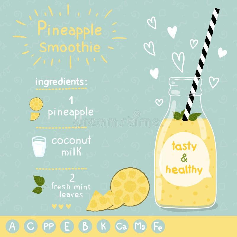 Recette de smoothie d'ananas illustration de vecteur