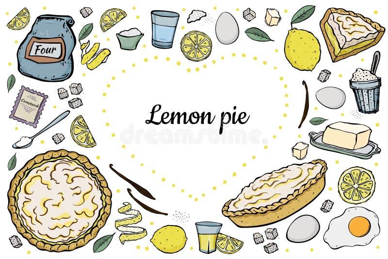Recette ouverte de tarte de citron de coeur illustration stock
