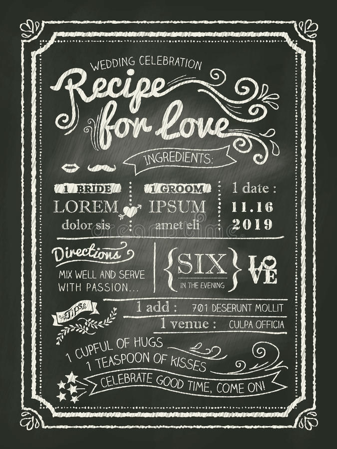 Recette pour la carte d'invitation de mariage de tableau d'amour illustration stock