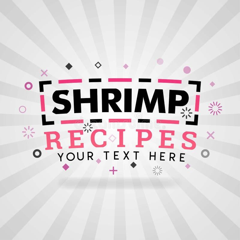 Recettes de crevette pour des logos et des illustrations de couverture illustration de vecteur