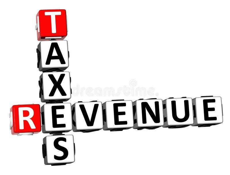 recettes fiscales de mots croisé du rendu 3D Word au-dessus du fond blanc illustration de vecteur