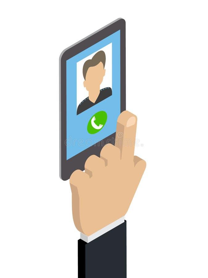 Recevant un appel téléphonique, appelle l'homme caucasien vecteur isométrique illustration de vecteur