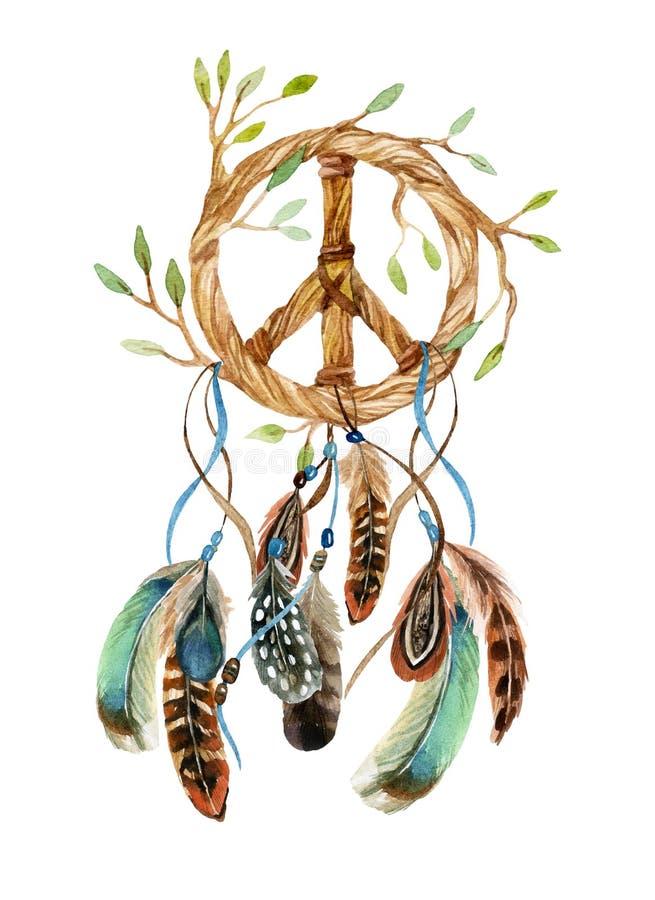 Receveur d'aquarelle et signe de paix rêveurs ethniques illustration de vecteur