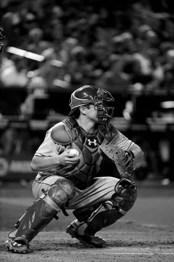 Receveur de base-ball avec le gant et le base-ball photos stock