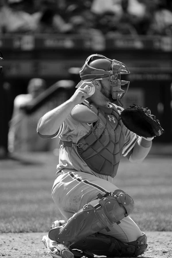 Receveur de base-ball avec le gant et le base-ball photo libre de droits