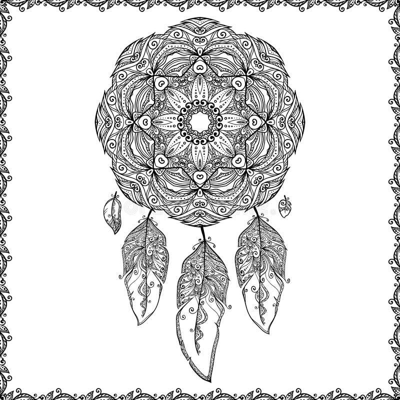 Receveur noir et blanc de rêve de griffonnage illustration de vecteur