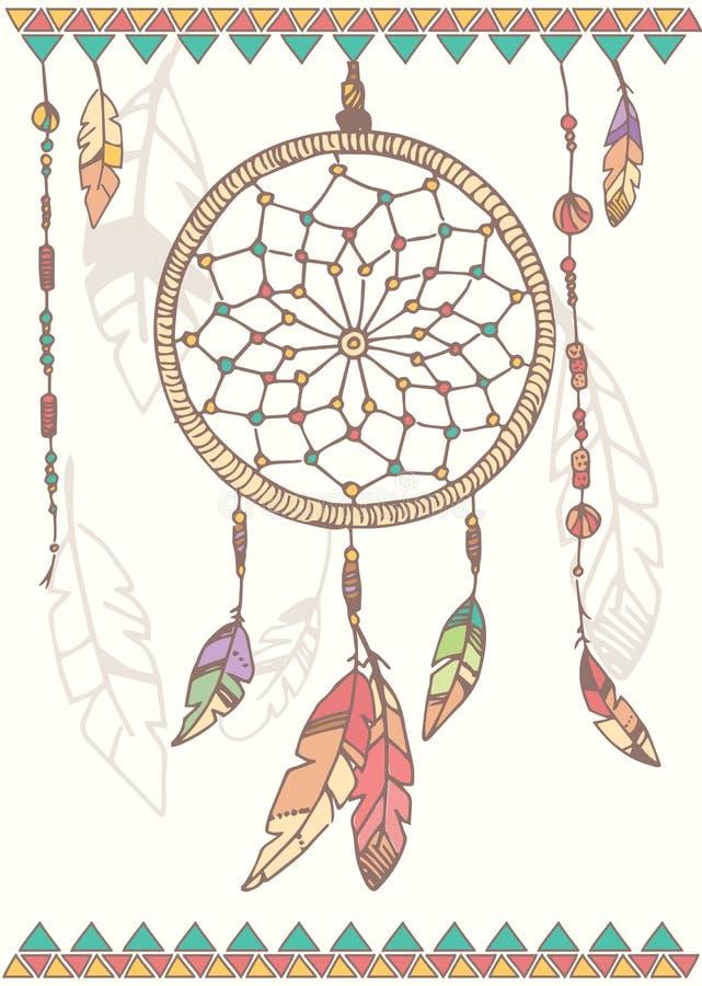 Receveur, perles et plumes tirés par la main de rêve de natif américain illustration libre de droits