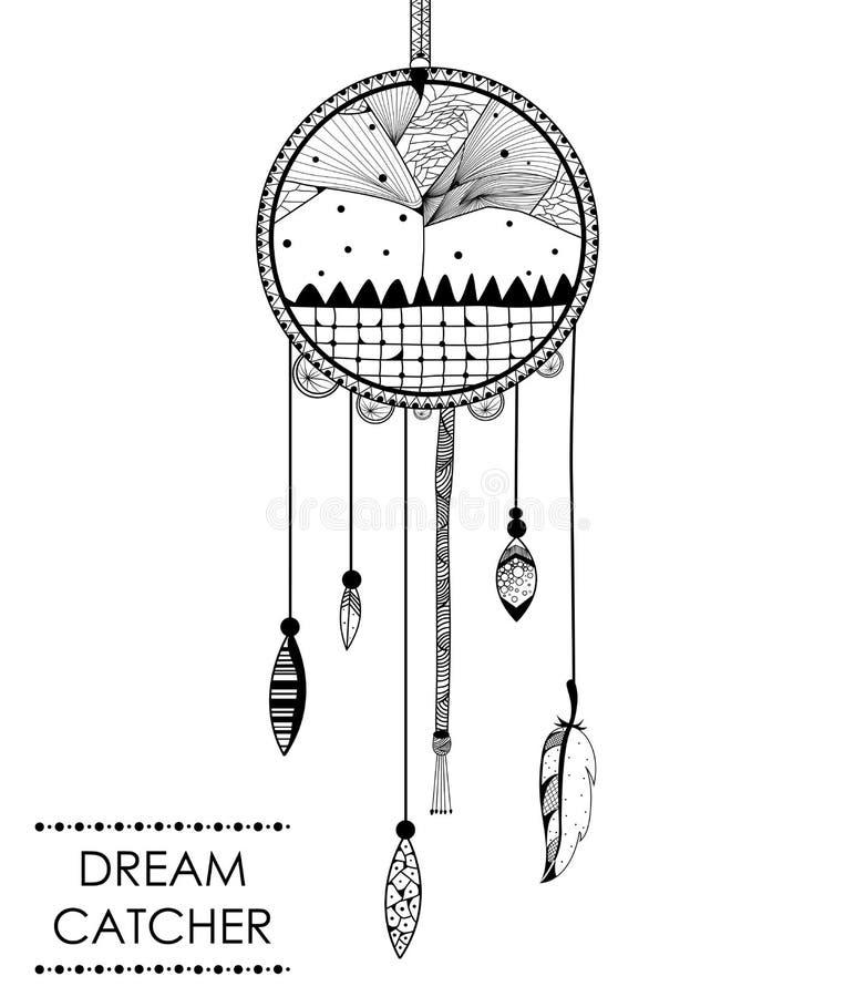 Receveur rêveur à l'arrière-plan tribal de style de boho illustration stock