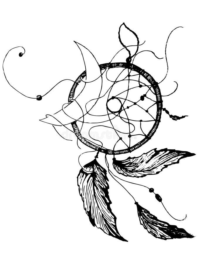 Receveur rêveur authentique tiré par la main de vecteur Natif américain ou Indien La lune a empêtré dans le receveur des rêves No illustration libre de droits