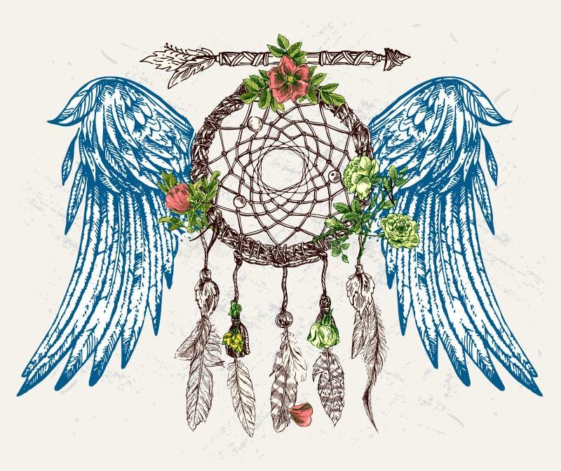 Receveur rêveur avec des ailes illustration libre de droits