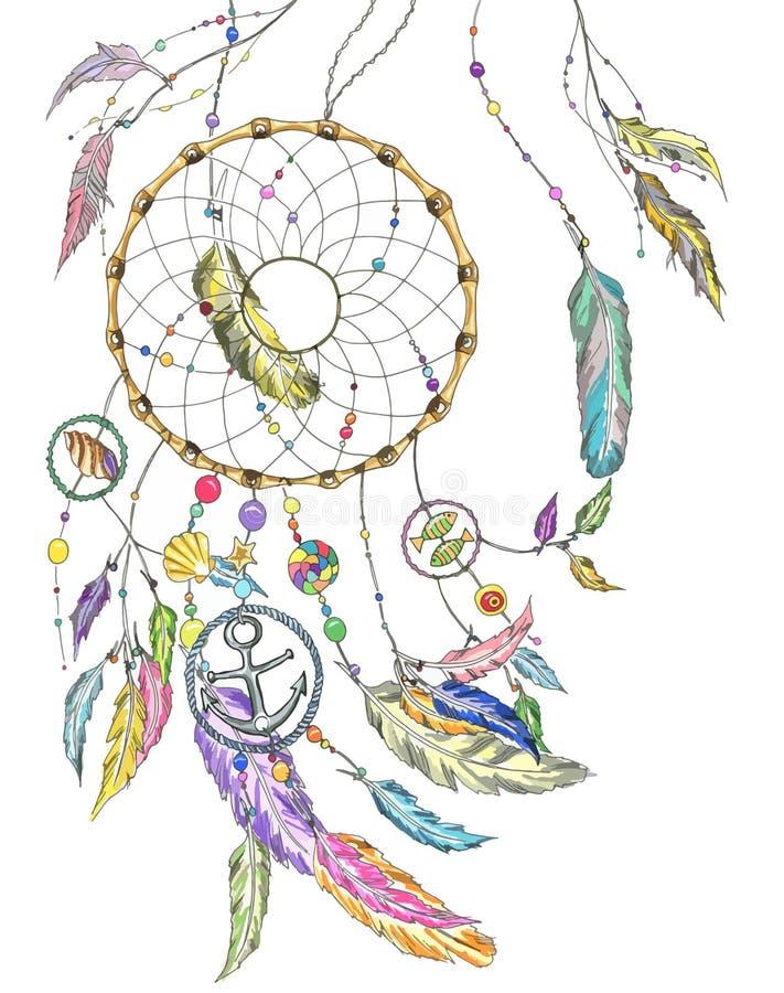 Receveur rêveur avec des articles de la mer et des plumes Vecteur illustration stock