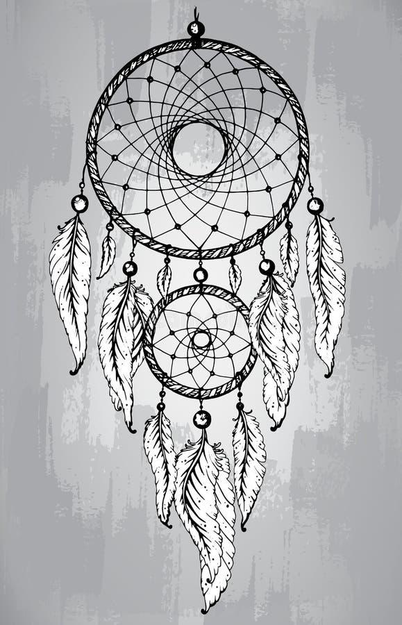 Receveur rêveur avec des plumes, dans style de schéma illustration libre de droits