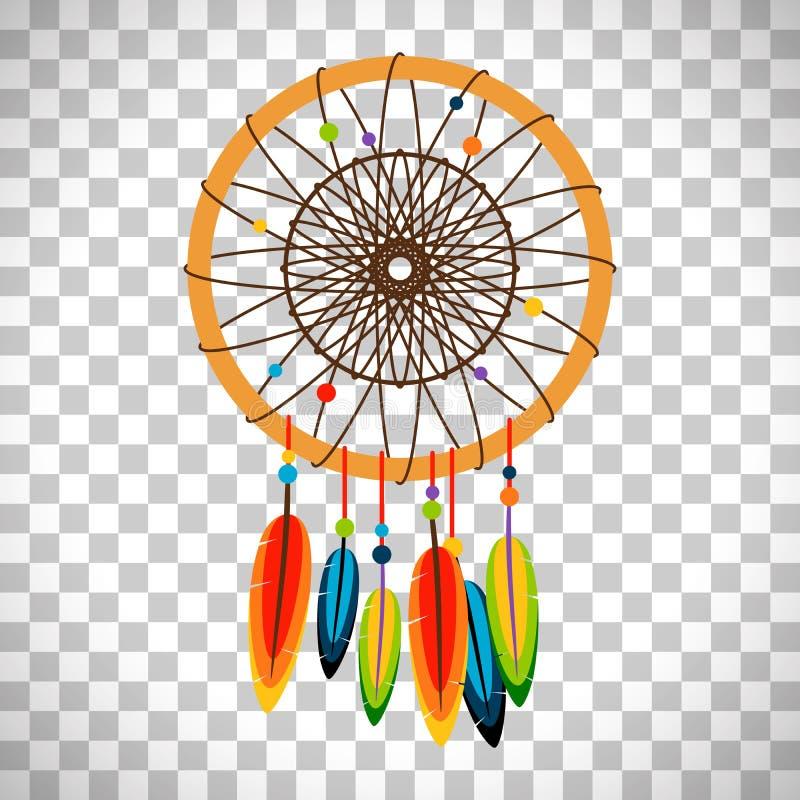 Receveur rêveur avec des plumes et des perles illustration de vecteur