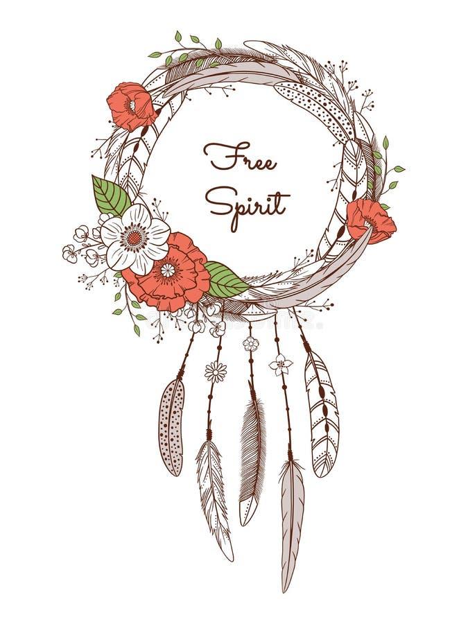 Receveur rêveur avec des plumes et des fleurs illustration de vecteur