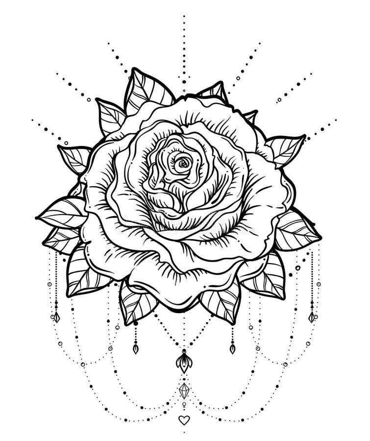 Receveur rêveur avec la fleur rose, OIN détaillée d'illustration de vecteur illustration stock