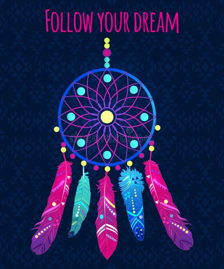 Receveur rêveur avec les plumes abstraites dans le style ethnique illustration de vecteur