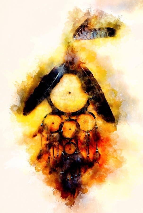 Receveur rêveur avec les plumes d'aigle et de corbeau et le fond doucement brouillé d'aquarelle photographie stock libre de droits
