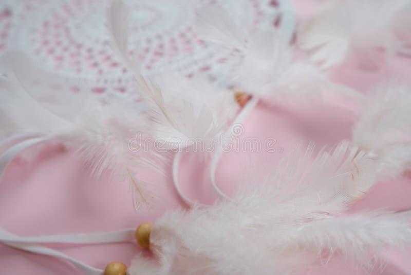 Receveur rêveur blanc avec des plumes sur un fond rose photos libres de droits
