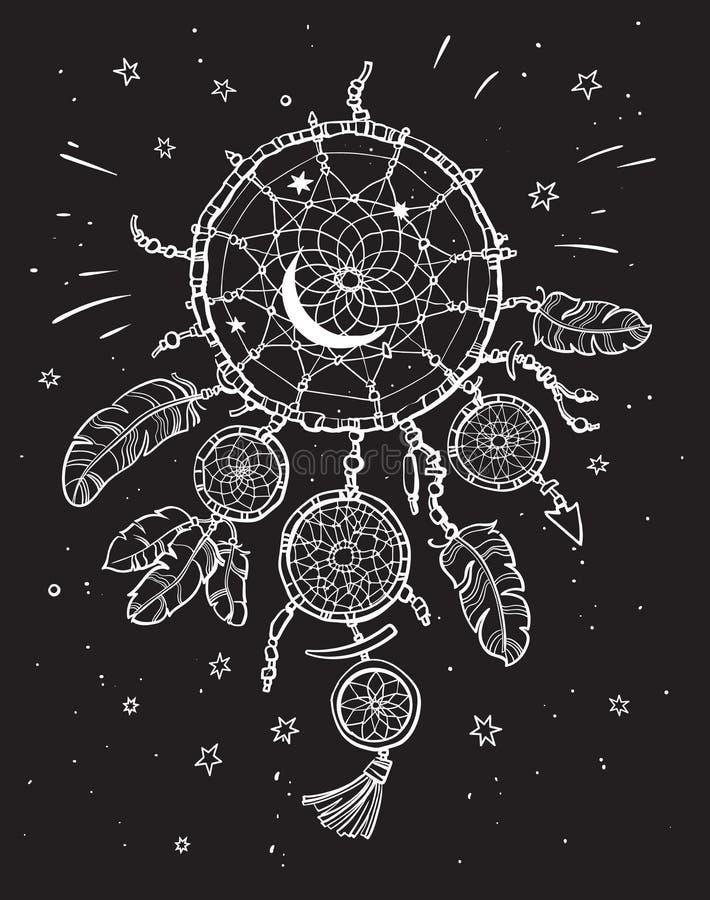 Receveur rêveur blanc sur le fond noir de ciel nocturne illustration de vecteur