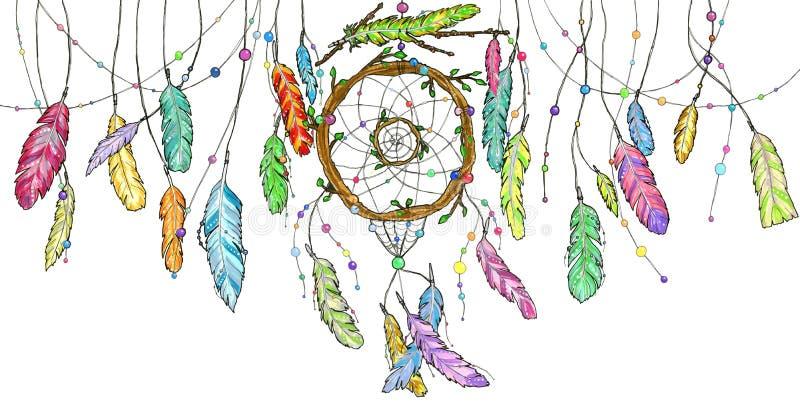 Receveur rêveur d'aquarelle avec l'oscillation colorée lumineuse de plumes illustration de vecteur
