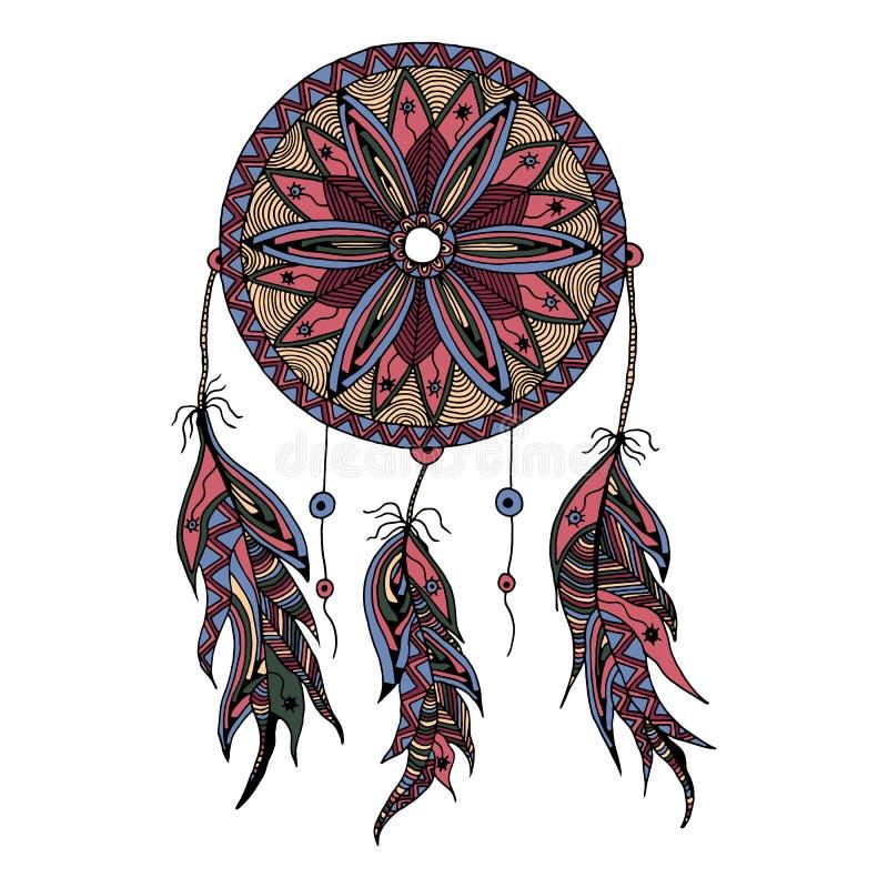 Receveur rêveur de couleur avec des plumes illustration de vecteur