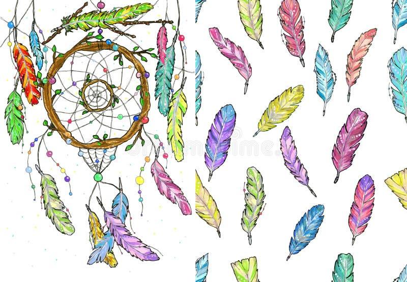 Receveur rêveur des branches d'arbre et de l'aquarelle sans couture de modèle illustration de vecteur