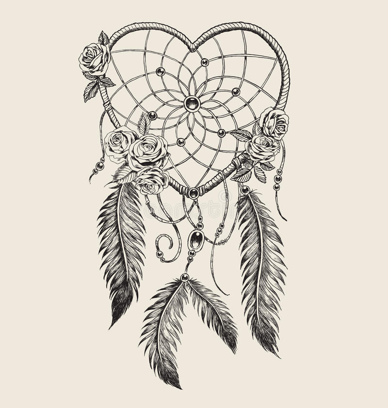 Receveur rêveur en forme de coeur tiré par la main illustration de vecteur