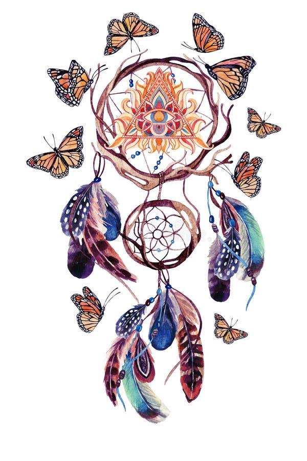 Receveur rêveur ethnique d'aquarelle avec tout l'oeil voyant en pyramide illustration de vecteur
