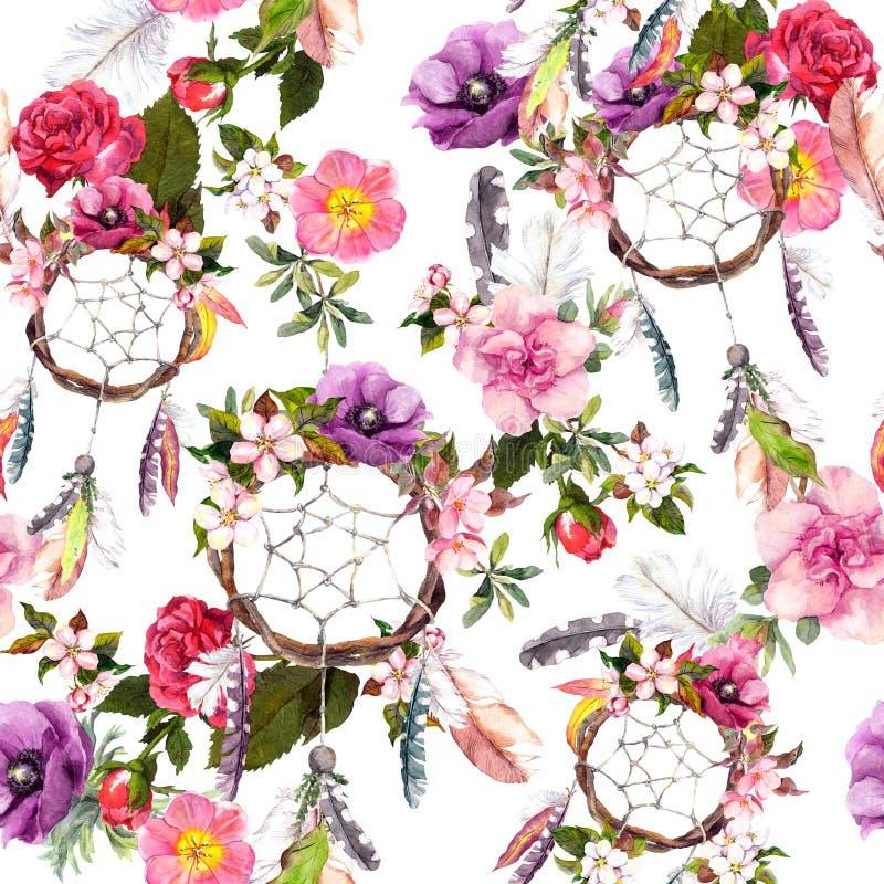 Receveur rêveur, fleurs, plumes Configuration sans joint watercolor illustration libre de droits