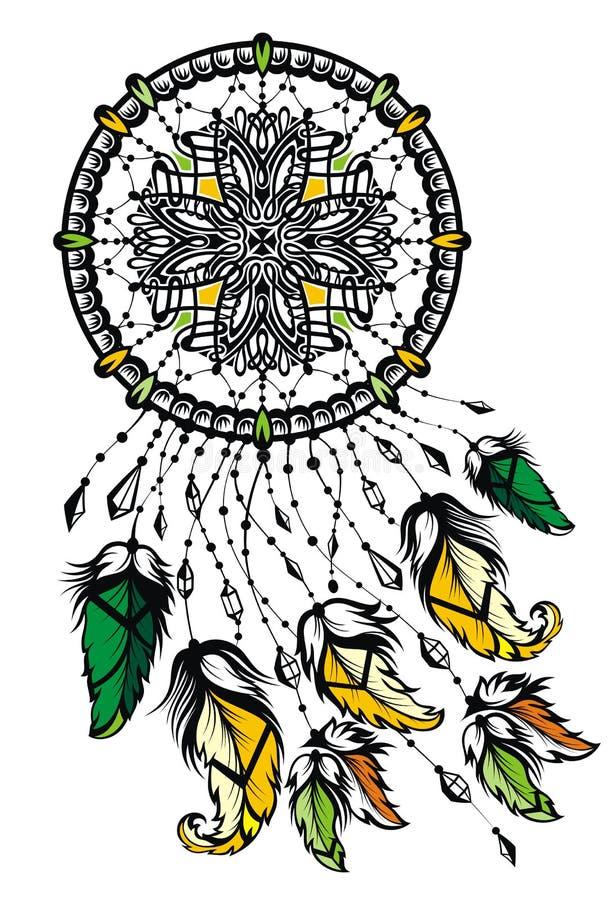 Receveur rêveur indien avec des plumes illustration stock