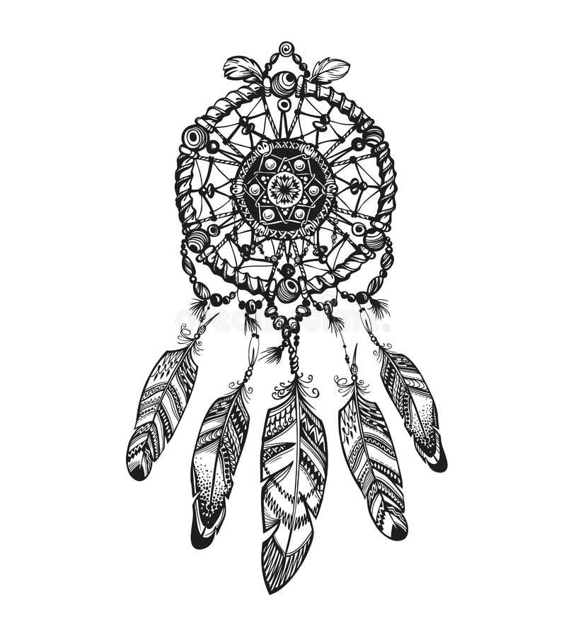 Receveur rêveur indien avec les ornements ethniques Illustration de vecteur sur le fond blanc illustration de vecteur