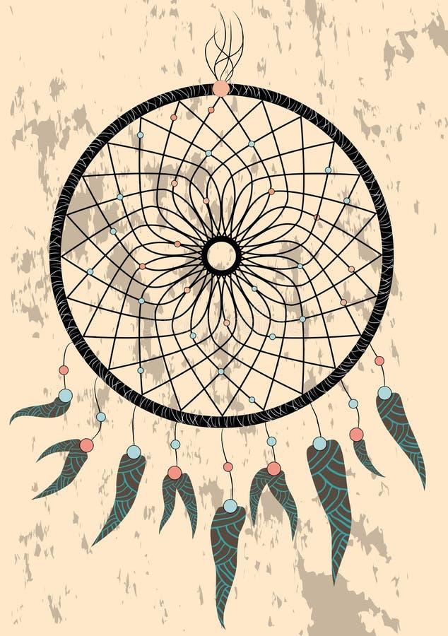 Receveur rêveur indien indigène, symbole traditionnel Carte lumineuse de carte avec les plumes et les perles colorées sur le fond images libres de droits