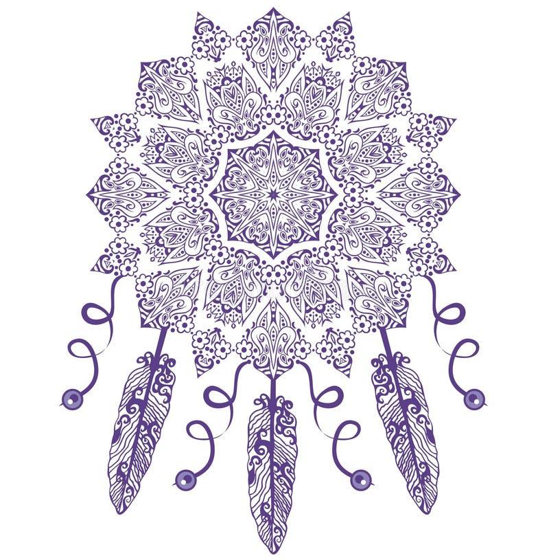 Receveur rêveur, protection, Indiens d'Amerique Ornement sans couture ethnique de vintage tribal abstrait illustration de vecteur