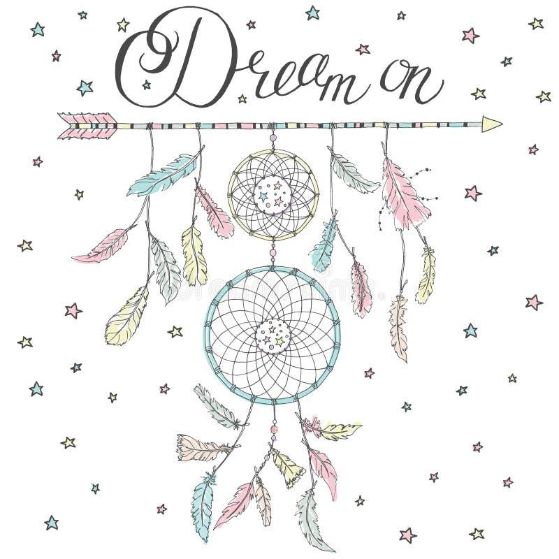 Receveur rêveur sur une flèche avec le rêve des textes de calligraphie dessus illustration stock