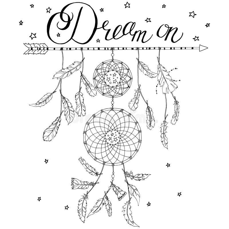 Receveur rêveur sur une flèche avec le rêve des textes de calligraphie dessus illustration de vecteur