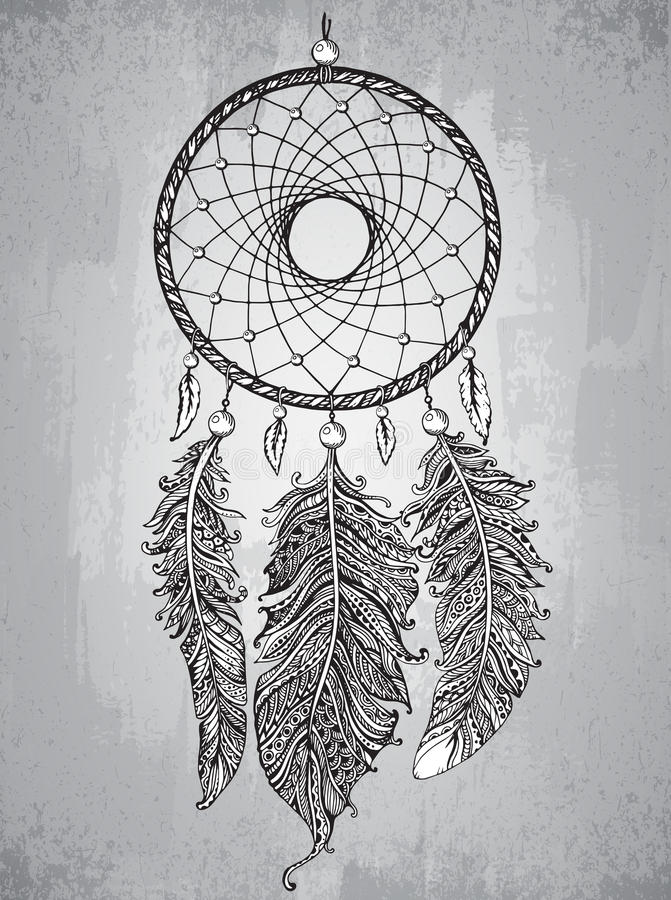 Receveur rêveur tiré par la main avec des plumes dans le style de zentangle illustration de vecteur