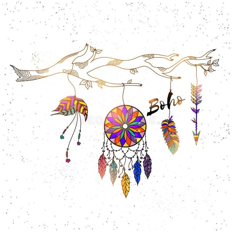 Receveur rêveur tiré par la main de style de Boho avec le modèle floral ethnique, illustration libre de droits