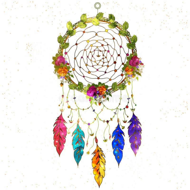 Receveur rêveur tiré par la main de style de Boho avec le modèle floral ethnique, illustration stock