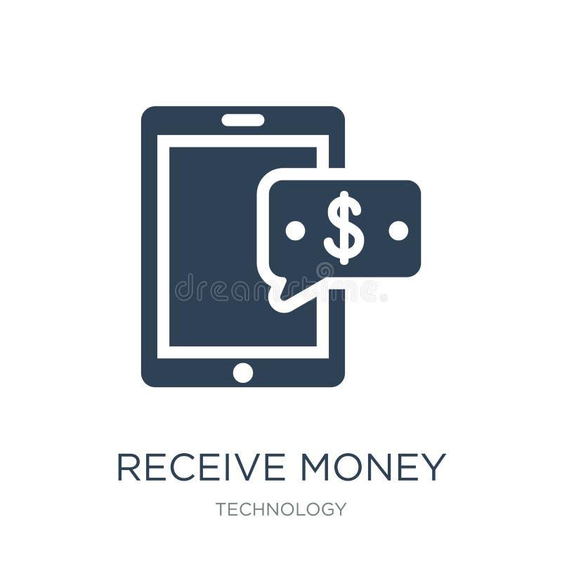 recevez l'icône de message d'argent dans le style à la mode de conception recevez l'icône de message d'argent d'isolement sur le  illustration de vecteur