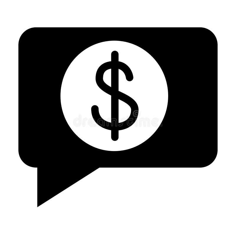 Recevez l'icône solide de message d'argent Le paiement a reçu l'illustration de vecteur d'isolement sur le blanc Bulle avec le gl illustration de vecteur