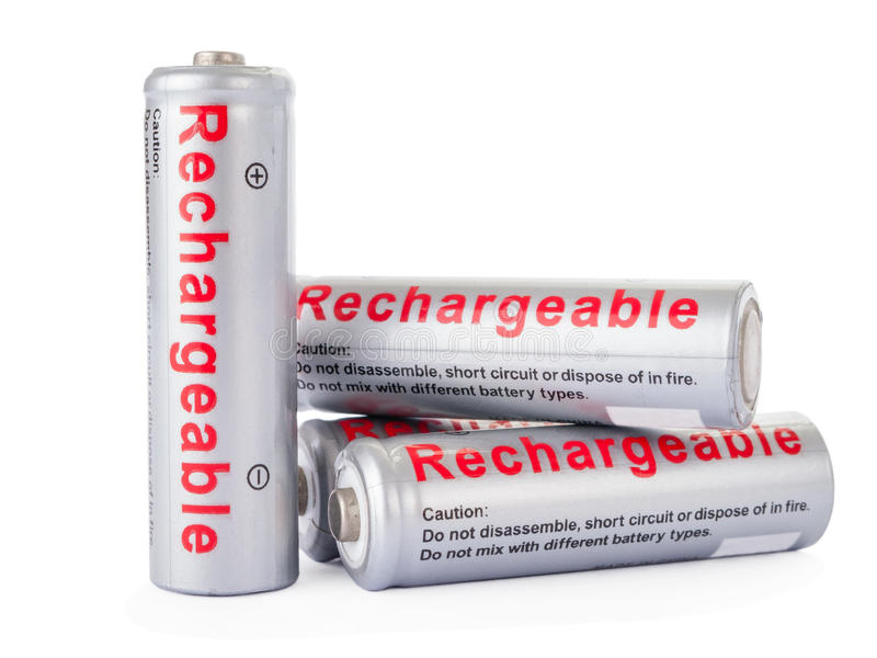 Rechargeable AA batteries isolated stock photography