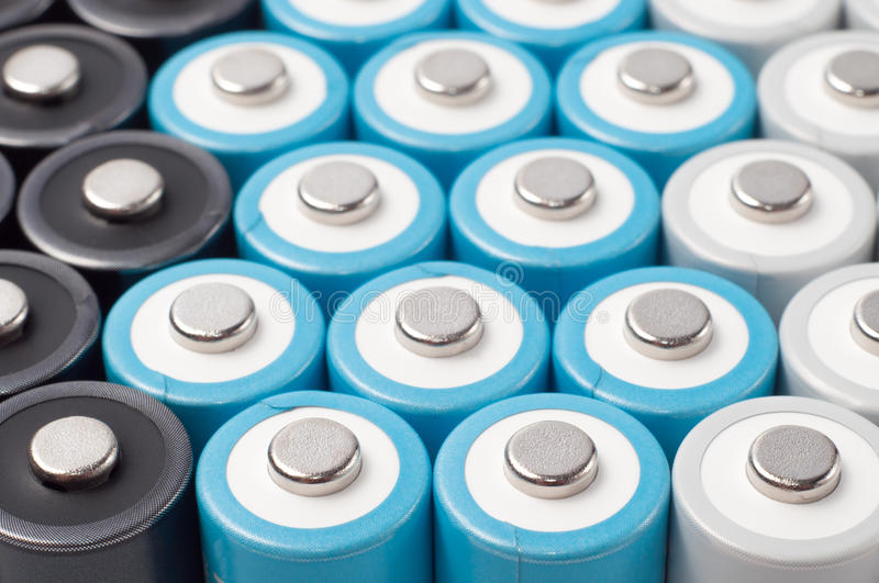 Rechargeable AA batteries stock photos