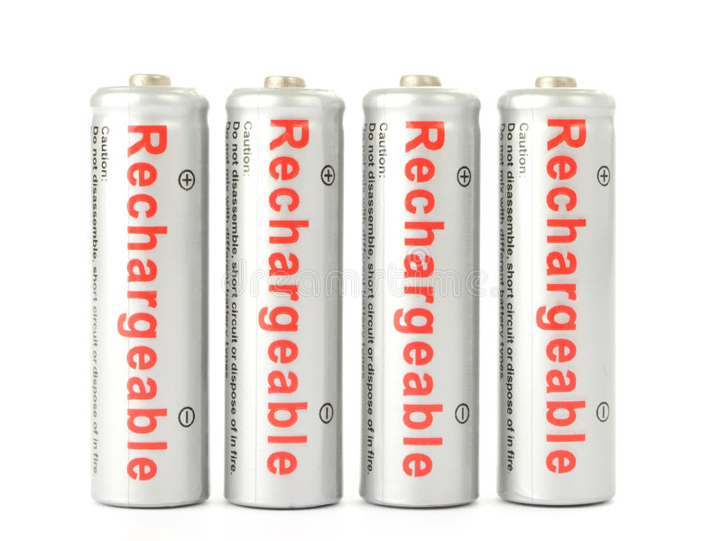 Rechargeable batteries stock image