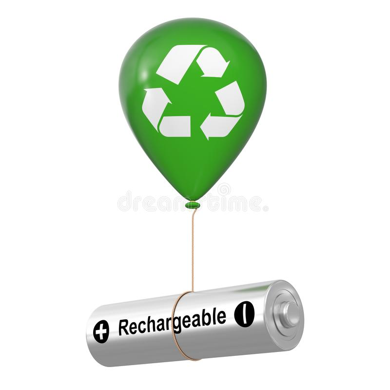 Free Rechargeable Battery Floating With Green Hellium Balloon With Eco Recycle Sign. 3d Rendering Stock Image - 137798521