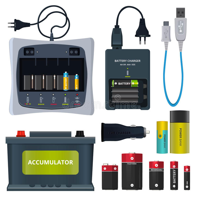 Rechargeable lithium battery and different accumulators isolate on white. Vector illustrations in cartoon style vector illustration